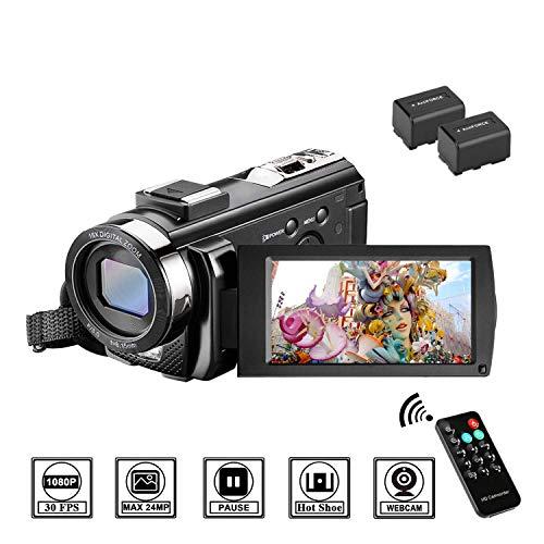 MELCAM Videocámara Youtube Vlogging, Cámara de Video 1080P 30FPS 24MP Pantalla LCD de 3 Pulgadas Rotación 270°, Digital Zoom 16X Webcámara Control Remoto y Dos Baterías