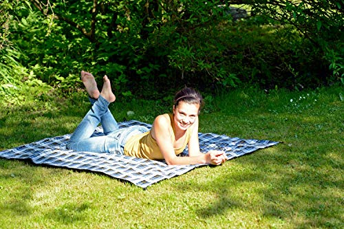 AMAZONAS Ultra-Light Picknickdecke Travel Blanket 350 g 150 x 120 cm blaukariert