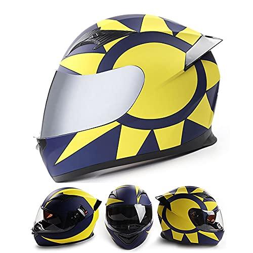 BDTOT Casco Moto Integral Casco Scooter para Hombre y Mujer Casco Unisex Negro de Motocicleta para Adultos con Doble Visera Anti-rasguños y Protección Rayos UV ECE/Dot Homologado