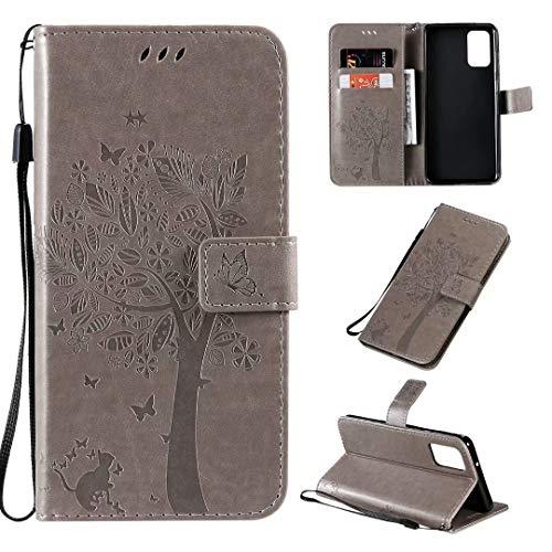 Miagon für Samsung Galaxy A31 Geldbörse Wallet Case,PU Leder Baum Katze Schmetterling Flip Cover Klapphülle Tasche Schutzhülle mit Magnet Handschlaufe Strap