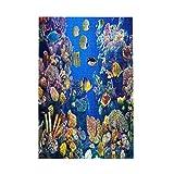 Rompecabezas de cuadros coloridos para niños de 1000 piezas de madera – Acuario colorido, mostrando diferentes peces nadando – Rompecabezas