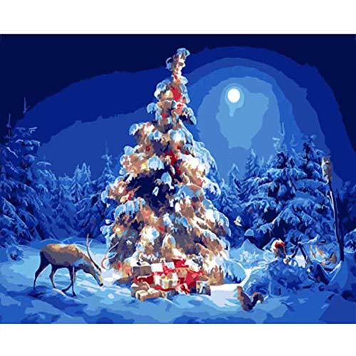 ABEUTY Malen nach Zahlen für Erwachsene Anfänger – Frohe Weihnachtsbaum Hirsch Mond Tier 40,6 x 50,8 cm Zahlen-Gemälde Anti-Stress-Spielzeug (kein Rahmen)