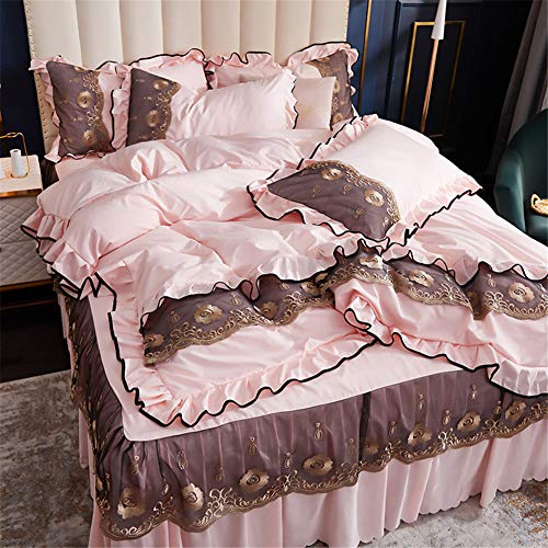 YFFS Duvet Cover Bedding Set 100% Washed Silk Fabric Duvet Cover Oversized 4PCS, Patterned Duvet Cover, Suitable for Family, Hotel (N,Medium)
