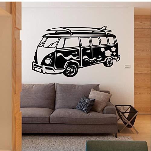 MRQXDP Surfing Camper Muursticker Reizen Bus Ontwerp Vinyl Auto Decal Surf Wave Camper Auto Wall Art Poster Verwijderbare Bus Mural 57x33cm decorativo habitacion cameretta adesiva Muro