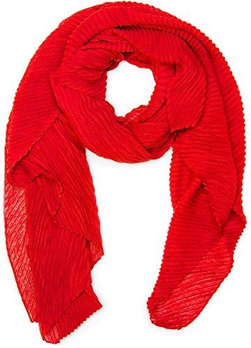 styleBREAKER pashmina tessuto increspato, a tinta unita, effetto stropicciato, foulard, da donna 01016107, colore:Rosso