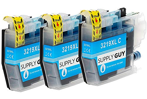 SupplyGuy 3 XL Cartouches Compatible avec Brother LC-3219 Cyan pour MFC-J5330dw MFC-J5335dw MFC-J5335dwf MFC-J5730dw MFC-J5930dw MFC-J6530dw MFC-J6535dw MFC-J6930dw MFC-J6935dw MFC-J6935dwf