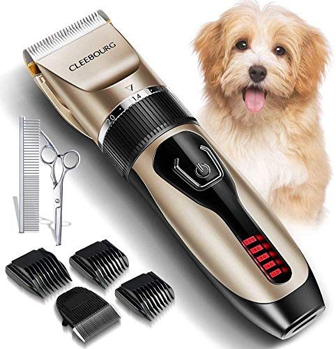 CLEEBOURG Dog Clipper, Low Noise Pet Clippers Rechargeable Cordless Cat and...