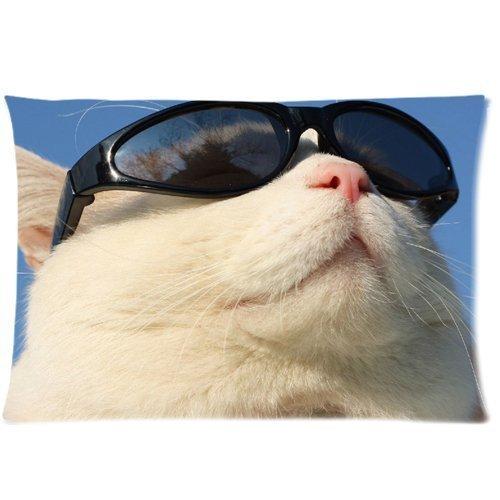 Funny Cute Lunettes de soleil chat blanc avec housse d'oreiller zippée 50,8 x 76,2 cm