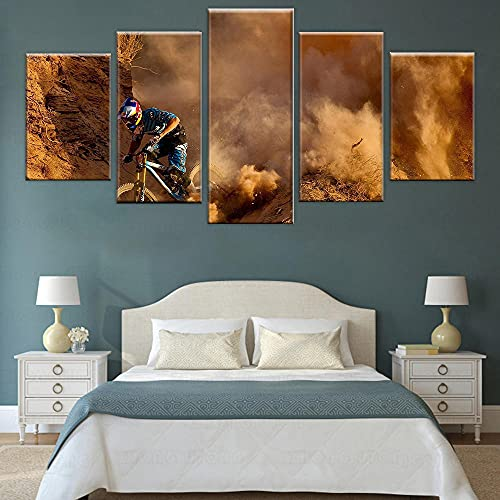 yuanjun 5 Piece Canvas Painting Modern Wall Sticker Removable Paintings For Living Room Print Abstract Poster Frame 3D Wall Art Pictures Extreme Sports Mountain Bike Poster