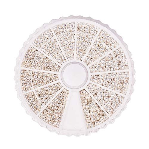PandaHall - 1800 Pcs 3 Tailles Perles à écraser en Laiton Perles Tube à Sertir Perle Ronde 2-3mm Argent pour la Fabrication de Bijoux, Trou: 1.2-2mm