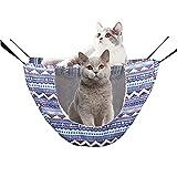 WLICCHS Hamaca para Gato, Transpirable Hamacas Colgantes para Gato Cama para Mascotas para Gatos Gatito Cachorro Conejos Hurones Doble Capa Cat Hammock (Rayas onduladas)