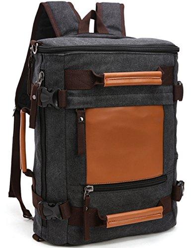 Aidonger Unisex Canvas und Leder Wanderrucksack Daypack (Schwarz)