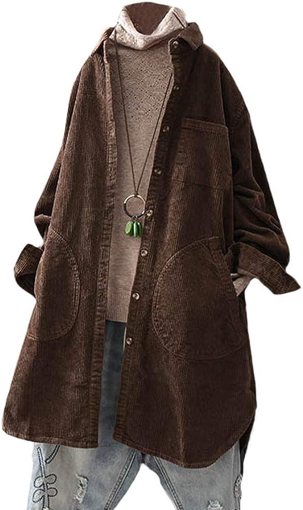 Minibee Women's Corduroy Shirt Coats Long Sleeve Button Down Blouses Tops with Pockets