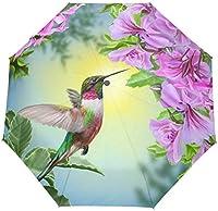 たっての熱小鳥ハチドリピンクの花と緑防風トラベル傘オートオープンクローズ3折りたたみ強力耐久性コンパクトレイン傘UVプロテクションポータブル軽量簡単持ち運び