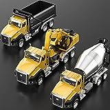 TEMI Paquete de 3 vehículos de construcción de ingeniería fundida a presión, camión volcador, excavador, camión Mezclador, 1/50 Escala de Metal Coleccionable.