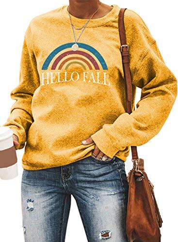 Sudadera colorida con estampado de letras arcoíris para mujer, estilo casual, cuello redondo, manga larga
