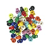 50 PCS Plastic Spring Cord Lock End Round Toggle Stoppers for Camping Hiking Shoelace Repl...