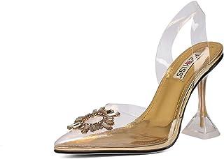 WETKISS Women's Heeled Sandals Square Toe Heels Flip Flop Heels Thong Sandals Slides Kitten Slip On Stiletto Party Slippers