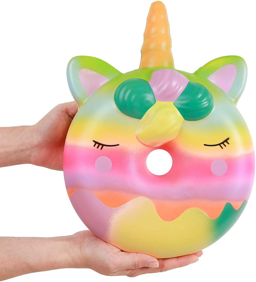 Blue Anboor 13 Inches Squishies Jumbo Unicorn Donut Kawaii Soft Slow Rising Scented Giant Doughnut Squishies Stress Relief Kid Toys