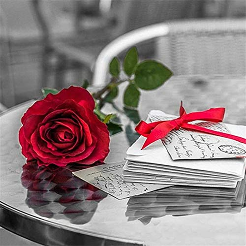 DIY 5D Kit de Pintura de Diamante por Número Carta de amor rosa Kit de Pintura con Diamantes Baratos Diamond Painting para Adultos diamantes completo Rhinestone Pegado Artes Artesanía,30x30cm