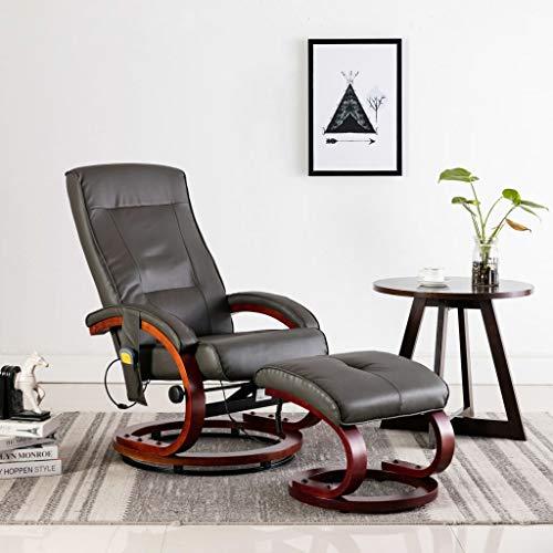 Festnight Massagesessel mit Fußhocker Grau Kunstleder Wärmefunktion Massage Relaxsessel Fernsehsessel TV Sessel