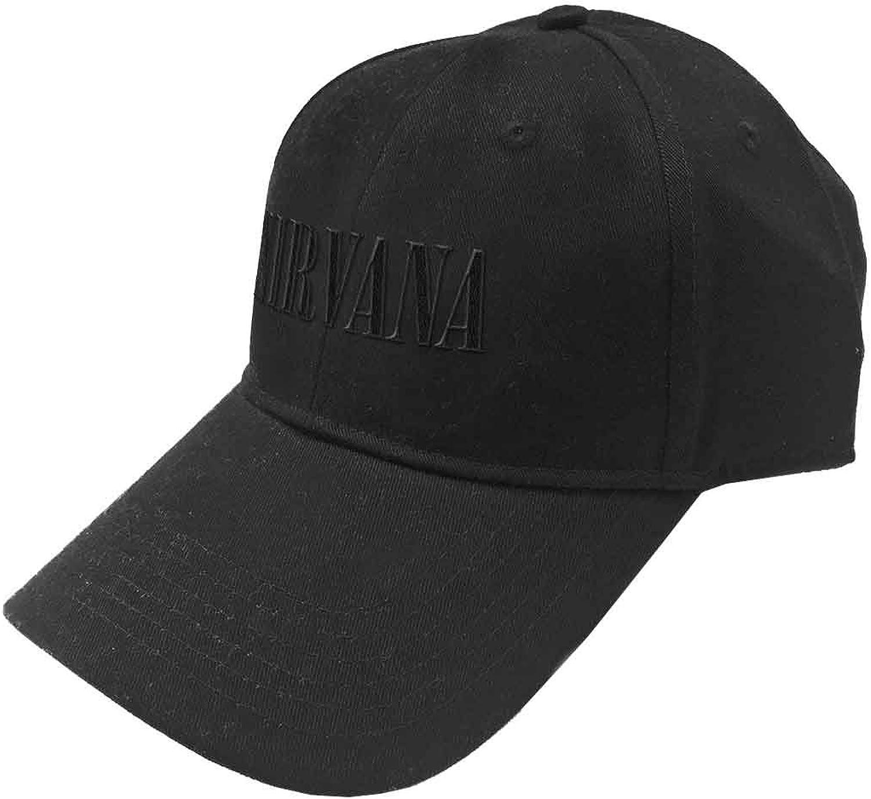 Nirvana Baseball Cap Text Band Logo Official Black Strapback Size One Size