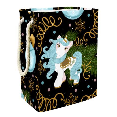 EZIOLY Cesta de lavandería con diseño de unicornio de Navidad, plegable, con asas y soportes desmontables, resistente al agua, para organizar juguetes en la sala de lavandería, dormitorio