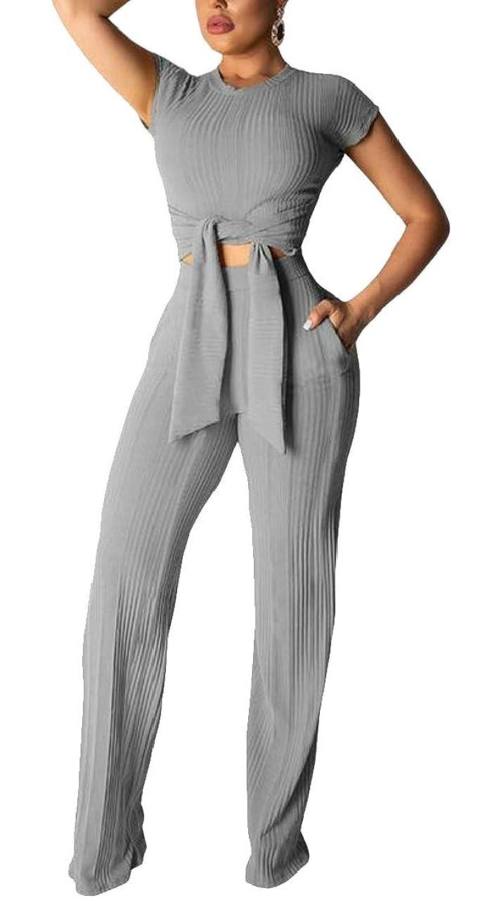 で出来ている財産絶壁レディースカジュアルショートスリーブシャツワイド脚パンツストレッチ2ピース衣装