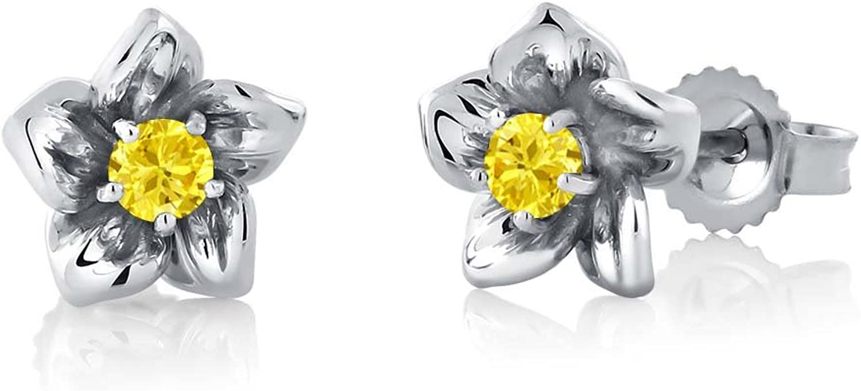 18K Round 2mm Yellow Created Sapphire 18K White gold Flower Earrings