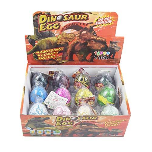 Wenosda Dino Dinosaurier-Dracheneier Schlüpfen Large Size Packung mit 12 Stück wachsenden Spielzeug, mischen Farben (12pcs farbrisse mischen)