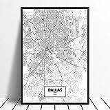 Leinwanddruck,Dallas Texas Schwarz Weiß Benutzerdefinierte