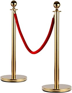 Leadzm 2PCS Stainless Steel Queue Pole Stanchion, Heavy Duty Crowd Control Barrier Security Fence with Ball Top and Retractable 4.9ft Red Flannel Chenille Belt Rope, Gold