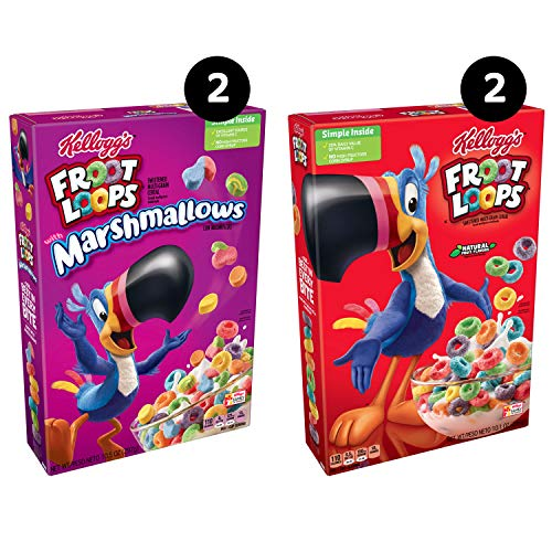 Kellogg Kids Breakfast Cereal Variety Pack  2  Froot Loops and 2  Froot Loops with Marshmallows Pack of 4