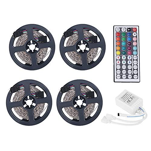Uniqal 4 unids 5 m RGB LED tira luces cambio de color música sincronización color para decoración hogar fiesta tira luces con control remoto