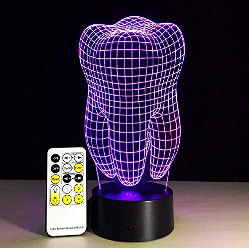 Diente 3D noche luz cambiable ambiente lámpara LED luz USB lámpara decorativa con control remoto o táctil decoración del hospital