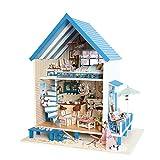 KJRJW Miniatura de Dollhouse, DIY de Madera Miniatura casa de muñecas Artesanía Kit-Modelo Villa Voz del Controlador Music Box Set de Juego for niños y Adultos de Navidad del Regalo de cumpleaños