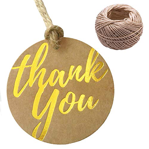 Gold Kraft Thank You Gift Tags, with 100 ft. Twine - Pack of 100