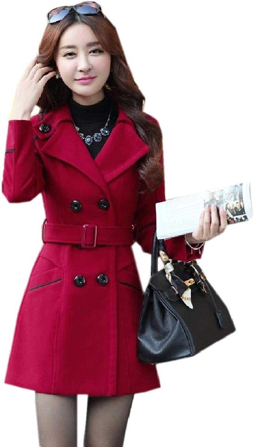 Coolhere Women's Fall Winter Double Button Notched Lapel Long Outwear Jacket