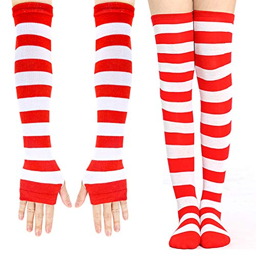 BigOtters Red and White Striped Socks, 2PCS Novelty Striped Costume Set Including Long Arm Warmer Gloves and Over The Knee Socks for Women Girls Halloween Xmas Cosplay Team Spirit