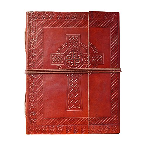 Second May Handmade Genuine Leather Journal Celtic Cross Design Eco-Friendly Unlined Pages Compact Travel Diary Writing Journal for Men & Women