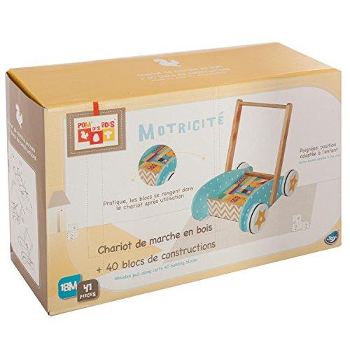 Betoys-131992-Mueble de Marcha + Juego de construcción en Madera-Pom 'de Madera-Colores