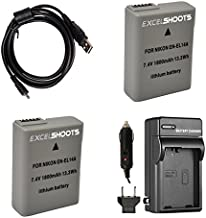 2X EN-14A Battery Pack + Battery Charger and USB Cable for Nikon DSLR D3200 Camera.
