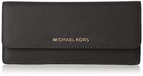 Michael Kors Jet Set Women?s Leather Travel Continental Wristlet Wallet, Black/Black, One Size