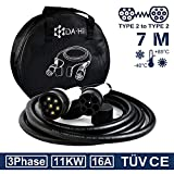 EV Ladekabel Typ 2 11KW 7m 16A 3 phasig für Elektroauto und PHEV kompatibel mit ID.3 ID.4 Kona i3 i3s Corsa-e XC40 e-Golf e-Tron EQA EQB EQC EQV Q5/7/8 e2008 e-208 u.a, IP54 weiß/schwarz