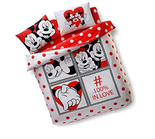 Newy Home - Set copripiumino per San Valentino, motivo: Minnie e Topolino, 100% cotone, per letto matrimoniale, 4 pezzi