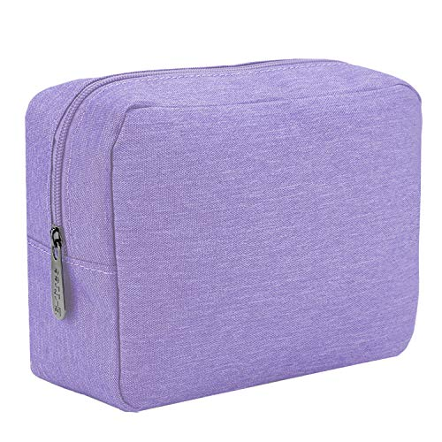 E-Tree 9.8 inch Canvas Zippered Cosmetic Travel Bag, Makeup Carrying Case, Portable Daily Storage, Compliant Bag, Toiletry Carry Pouch Small Organizer, Purple