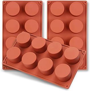 homEdge Molde de silicona con cilindro de 8 cavidades, 3 paquetes de moldes de cilindro