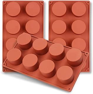 homEdge Molde de silicona con cilindro de 8 cavidades, 3 paquetes de moldes de cilindro para hacer jabón hecho a mano, chocolate, velas de jabón y jalea marrón