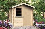 Alpholz Gartenhaus Toby aus Massiv-Holz | Gerätehaus mit 28 mm Wandstärke | Garten Holzhaus inklusive Montagematerial & Dachpappe | Geräteschuppen Größe: 210 x 210 cm | Satteldach