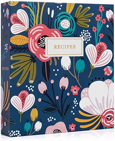 Jot Mark Recipe Organizer 3 Ring Binder Set Garden Floral 50 Recipe Cards 4x6 Rainbow Full Page product image